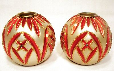 Set Of Waterford Holiday Heirlooms Candle Holders   1 Pair