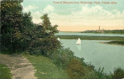 Toledo OH Path Along Maumee River~Sailboats in Walbridge Park~1910 PC