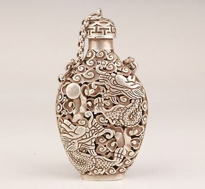 Tibetan Silver Hand-Carved Hollow Dragon Statue Royal Old Snuff Bottle Pendant