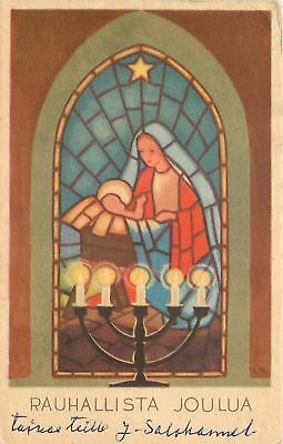 Christmas~Mother & Child~Stained Glass Window~5-Branch Candelabra~Finland~1940s