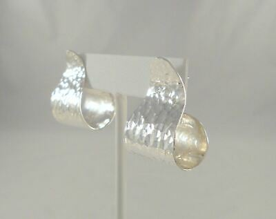 Big Bold Vtg Mexican Sterling Silver Hand Hammered Modernist Curve Post Earrings