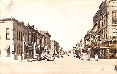 Hastings NE Gaston Typewriters, Music~Beauty Academy~Queen City Cafe c1935 RPPC