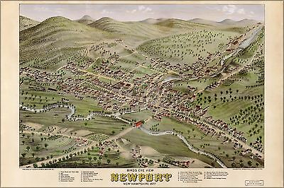 Poster, Many Sizes; Birdseye View Map Of Newport, New Hampshire, 1877