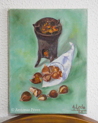 Oleo sobre lienzo. Castañas / Oil painting on canvas. Still Life. Chestnuts