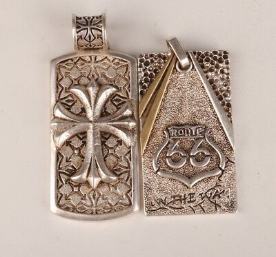 2 Old Tibetan Silver Hand-Carved Cross Classic Necklace Pendant Gift Collection