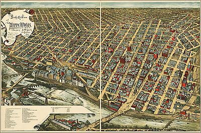 Poster, Many Sizes; Birdseye View Map Of Minneapolis, Minnesota 1891