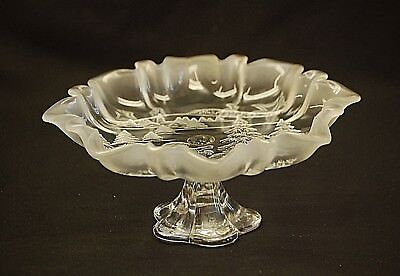 Mikasa Christmas Story Frosted Ruffled Glass Footed Compote Bon Bon Dish Germany