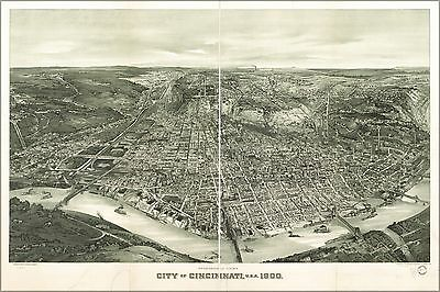 Poster, Many Sizes; Panoramic Map, City Of Cincinnati, Ohio 1900