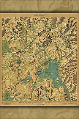 Poster, Many Sizes; Panoramic Map Yellowstone National Park 1915