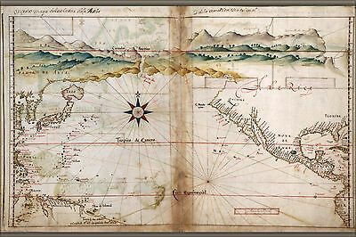 Poster, Many Sizes; Map Of North Pacific Ocean 1630 With Japan North America