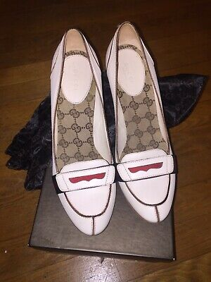 1fb7fb6dc Gucci High Ankle Faux Pearl Buttons Stiletto Sandals Two Tone 38.5 8.5.