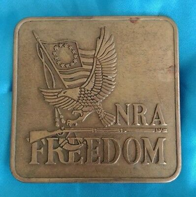Vintage NRA National Rifle Association Freedom Right Bear Arms Brass Belt Buckle