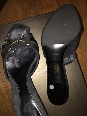 52bd13ba2 GUCCI HIGH ANKLE Faux Pearl Buttons Stiletto Sandals Two Tone 38.5 ...