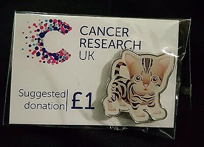 """Brand New & Sealed """"Cat"""" Cancer Research UK Pin Badge - (SAME DAY DISPATCH !!)"""