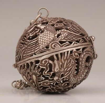 Chinese Tibet Silver Pendant Incense Burner Ball Dragon Phoenix Sacred Old