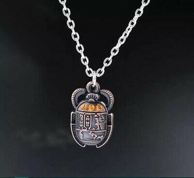 Vintage Egyptian Jewellery Scarab Necklace Ancient Chain For Women