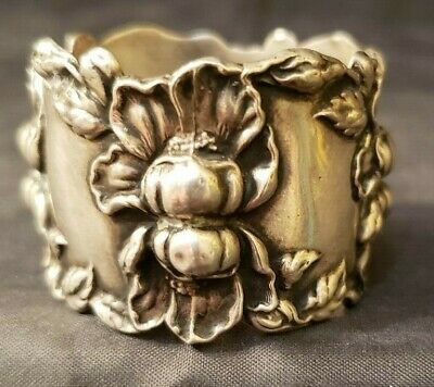 """Antique Sterling Silver Napkin Ring - 1 1/4"""" Wide"""
