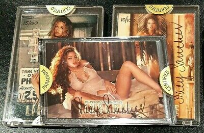 Playboy Stacy Sanches Authenticated Signature Set Completo 3 Card 1998 Lingerie