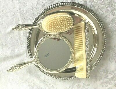 Vintage Silverplate DRESSER SET & Tray International Silver Co Mirror Comb Brush