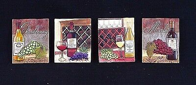 Four Wine Theme Stone Resin Wall Plaques Chardonnay, Merlot, Cabernet 3D Relief