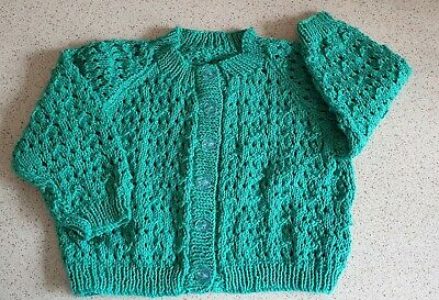 HAND KNITTED in BABY COTTON GIRL'S CARDIGAN - NEW NEVER WORN.