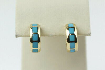 Captivating 14k Yellow Gold Hoop Earrings with Turquoise Inlay