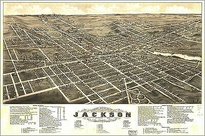 Poster, Many Sizes; Panoramic Map Of Jackson, Michigan 1881