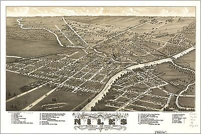 Poster, Many Sizes; Panoramic Map Of Niles, Ohio 1882