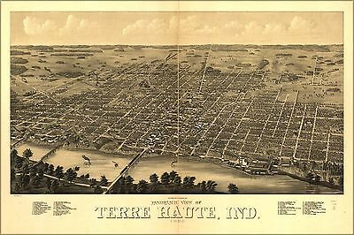 Poster, Many Sizes; Panoramic Map Of Terre Haute, Indiana 1880