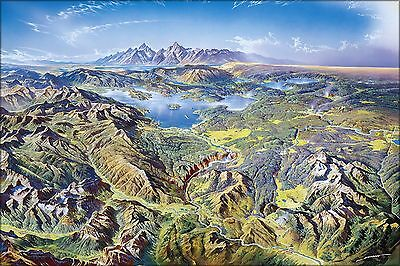 Poster, Many Sizes; Panoramic Drawing Of Yellowstone National Park, Heinrich Ber