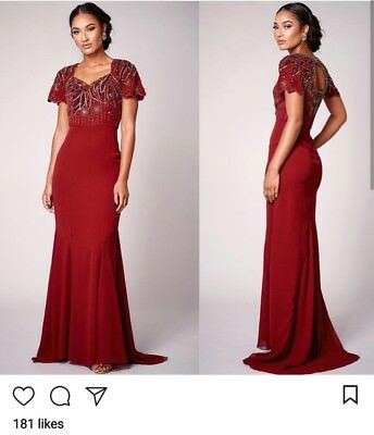 24ccb9e0 Dress 10 BNWT Virgos Lounge ASOS Embellished Red Maxi Wedding Prom Occassion