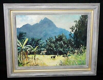 "1970s Hawaii Oil Painting ""Hawaiian Farm, Waimanalo"" by Peter Hayward (Nap)"