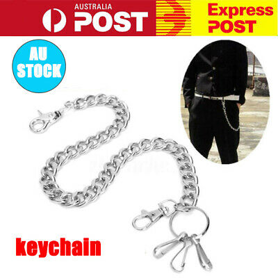New Men Hip Hop Biker Rock Trucker Keychain Key Jean Wallet Waist Chain Silver