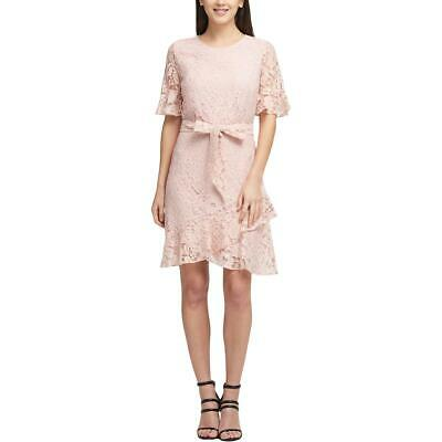 0ea3586515 DKNY Womens Pink Lace Elbow Sleeves Party Cocktail Dress 8 BHFO 8897