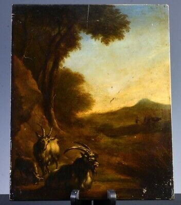 Well Done Early Antique European Goat Animal Pastoral Landscape On Board