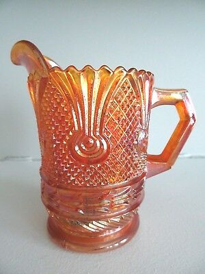 SOWERBY English Marigold Carnival Glass SEA THISTLE Cane Scroll Creamer PITCHER