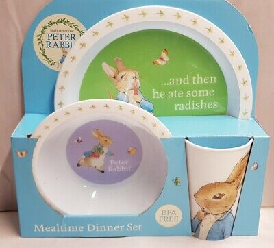Beatrix Potter Peter Rabbit Mealtime Dinner Set MIB Boxed Child's Cup Plate& Cup