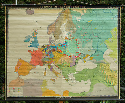 Schulwandkarte Wall Map School Role Europa in the 18.jahrh Vintage 198x160