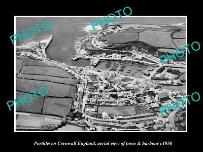 8x6 HISTORIC PHOTO OF PORTHLEVEN CORNWALL ENGLAND VIEW OF TOWN & HARBOUR 1930
