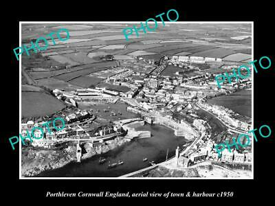 8x6 HISTORIC PHOTO OF PORTHLEVEN CORNWALL ENGLAND VIEW OF TOWN & HARBOUR 1950