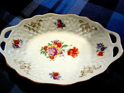 Schumann Bavaria Germany Dresden Flowers Oval Serving Nut Dish - Old!