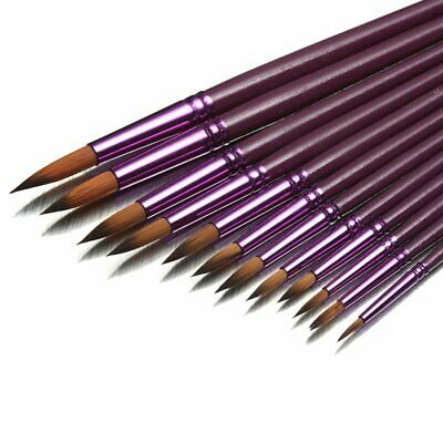 12 Artist Art Paint Pointed Brush Set Watercolor Acrylic Oil Drawing Pen DU