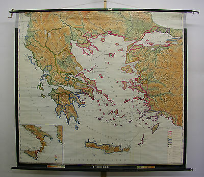 Schulwandkarte Beautiful Wall Map School Map Athens Greece 198x181 Map 1970