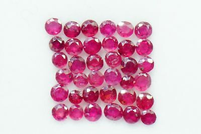 Natural Ruby 2.39 CTS Round Cut 2.5 mm Lot 36 Pcs Red Shade Loose Gemstones GF