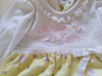 BABY GRO Newborn Baby Girl Romper Bow Coverall Embroider Bunny My First Easter