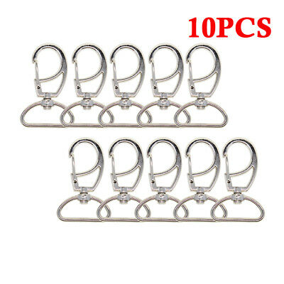 10pcs D-shaped Metal Lanyard Hook Silver Swivel Snap For Paracord Lobster Clasp