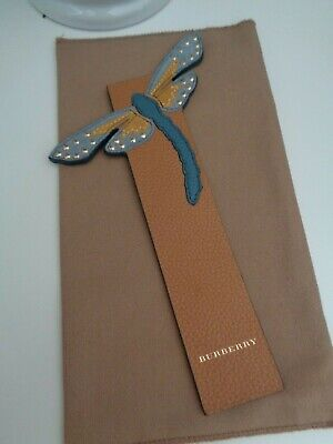 BNWoT Authentic BURBERRY Leather Ochre & Teal Dragonfly Bookmark - Reduced