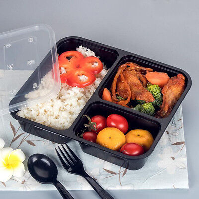 10/20pcs Freezer Microwavable Meal Prep Plastic Lunch Box Food Storage Container