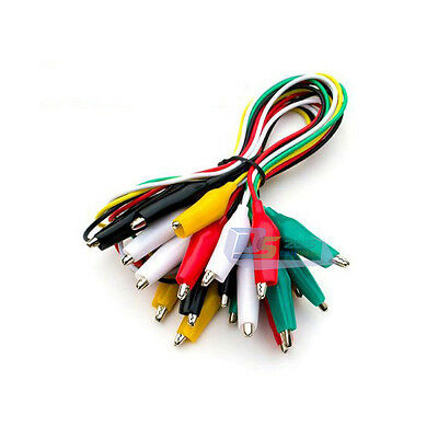 49cm 10X Colorful Jumper Cord Cable w/ Double-ended Alligator Crocodile Clip New