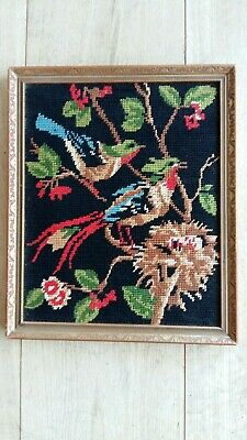 "Handworked framed tapestry ""BIRDS & NEST"" 26cm x 32cm (approx 10""x 12"")"